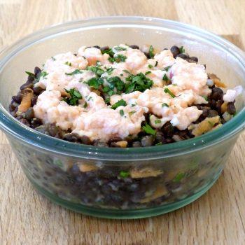 Salade de lentilles et tartare de saumon