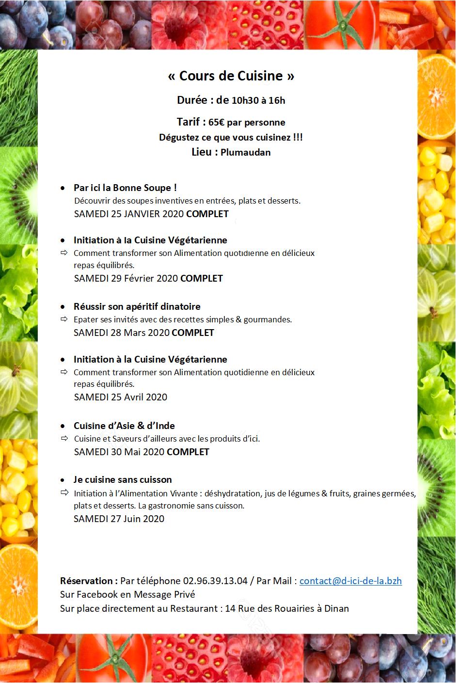 Les Cours de Cuisine proposés par Serge de Thaey